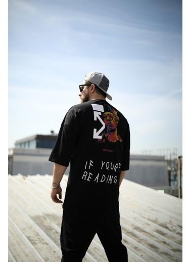 Densmood DKU.4704-2 Densmood Oversize Baskı Detay T-Shirt Siyah